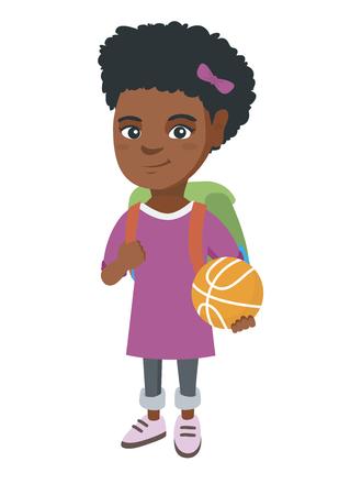 Jong Afrikaans vrolijk schoolmeisje met rugzak die een basketbalbal houdt. Volledige lengte van klein schoolmeisje met een basketbalbal. Vector schets cartoon illustratie geïsoleerd op een witte achtergrond.