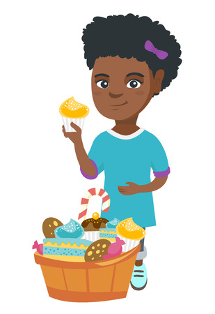 Little african-american girl holding a yummy cupcake and stroking her belly. Vector sketch cartoon illustration isolated on white background.