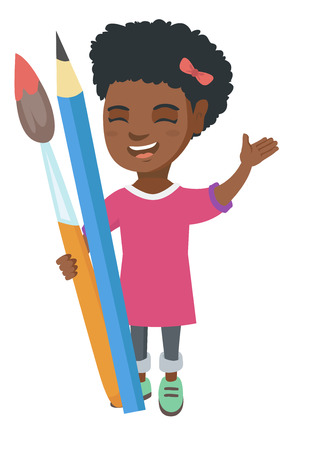 children painting: Smiling african-american girl holding big pencil and paintbrush. Full length of happy laughing girl with huge pencil and paintbrush. Vector sketch cartoon illustration isolated on white background. Illustration