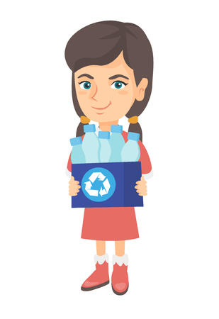Little caucasian girl holding a recycling bin full of plastic bottles. Concept of plastic recycling and environment conservation. Vector sketch cartoon illustration isolated on white background. Illusztráció