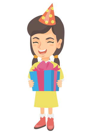 kids birthday party: Caucasian happy smiling girl in birthday cap holding gift box. Vector sketch cartoon illustration isolated on white background.