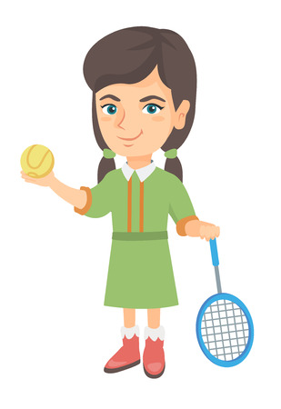 Little caucasian tennis player holding a tennis racket and a ball. Smiling girl while a tennis racket and a ball. Girl playing tennis. Vector sketch cartoon illustration isolated on white background.