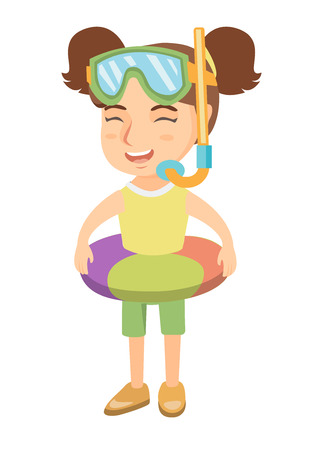 Joyful caucasian girl wearing inflatable rubber ring and diving mask with snorkel. Kid with swimming ring, snorkel mask and snorkel. Vector sketch cartoon illustration isolated on white background.