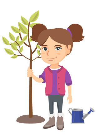 Caucasian smiling girl planting a tree. Eco-friendly girl standing near newly planted tree and watering can. Vector sketch cartoon illustration isolated on white background.