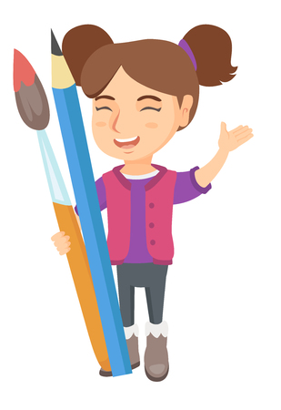 children painting: Smiling caucasian girl holding big pencil and paintbrush. Full length of happy laughing girl with huge pencil and paintbrush. Vector sketch cartoon illustration isolated on white background.
