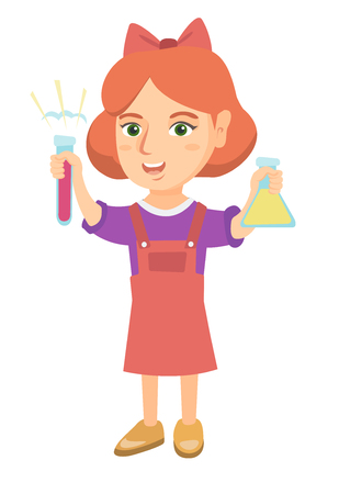 Little caucasian girl holding test tube and beaker with chemical reagents. Full length of happy girl with flask and test tube in hands. Vector sketch cartoon illustration