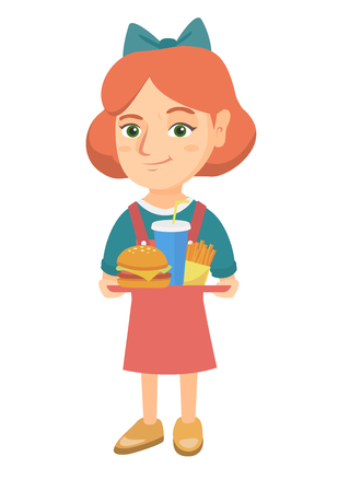 Little caucasian girl holding a tray with fast food. Vector sketch cartoon illustration Illustration