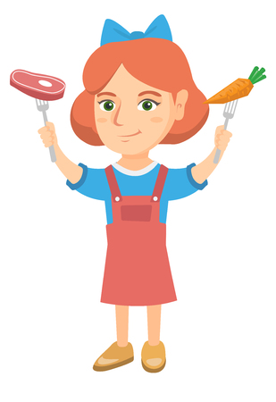 Caucasian girl holding forks with organic carrot and steak. Full length of little girl with carrot and meat steak in hands. Vector sketch cartoon illustration