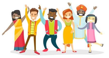 Group of young multicultural happy smiling people celebrating together. Diverse multiethnic group of cheerful multicultural men and women. Vector cartoon illustration isolated on white background.  イラスト・ベクター素材