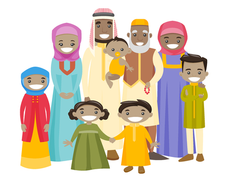 Happy extended muslim smiling family with old grandparents, young parents and little children. Big muslim family portrait together with cheerful smile. Vector illustration isolated on white background.