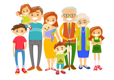 Gelukkige Kaukasische witte glimlachende familie met oude grootouders, jonge ouders en kleine kinderen. Groot Kaukasisch familieportret samen met vrolijke glimlach. Vectorillustratie geïsoleerd op witte achtergrond