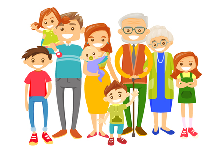 Happy caucasian white smiling family with old grandparents, young parents and little children. Big caucasian family portrait together with cheerful smile. Vector illustration isolated on white background. Ilustração