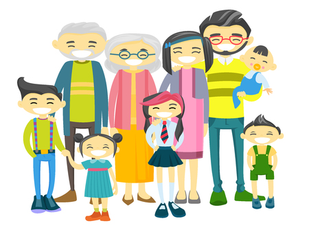 Happy extended asian smiling family with old grandparents, young parents and little children. Big asian family portrait together with cheerful smile. Vector illustration isolated on white background.