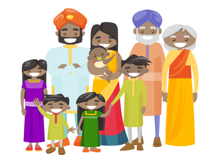 Happy extended indian smiling family with old grandparents, young parents and little children. Portrait of big hindu family together with cheerful smile. Vector illustration isolated on white background.