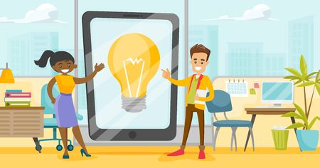 Young caucasian white businessman and african-american business woman pointing at the idea light bulb on a tablet computer screen. Multiracial business idea concept. Vector cartoon illustration. Horizontal layout Vetores