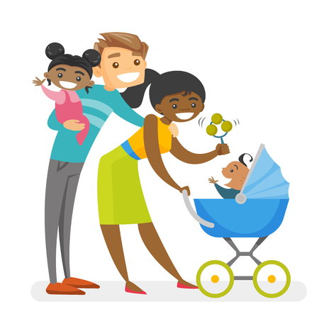 Happy diverse multiracial family with mulatto kids. Young Caucasian white father holding mulatto daughter and African-american mother pushing stroller with baby. Vector isolated cartoon illustration.