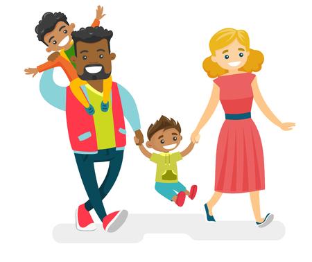 楽しい笑顔の多民族国家の家族が歩いて、一緒に楽しんでいます。若い陽気なコーカサスの白人の母とアフリカ系アメリカ人の父親が、ムラートの子供たちを散歩している。ベクトルは、漫画のイラストを分離。