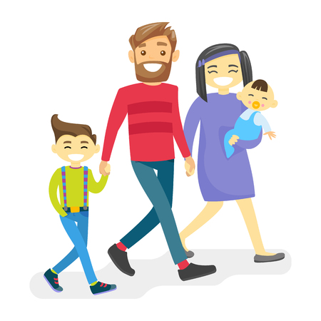 Cheerful multiethnic family walking and having fun together. Young smiling Asian mother and Caucasian white father with happy biracial kids strolling and laughing. Vector isolated cartoon illustration