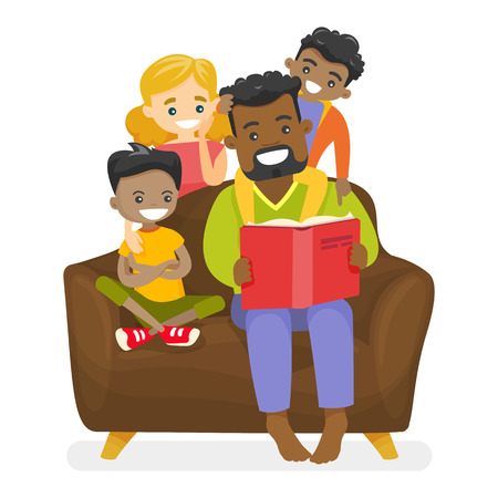 Young happy african-american father reading a book to multiethnic biracial mulatto kids and Caucasian white wife. Happy multiracial mixed family concept. Vector isolated cartoon illustration.