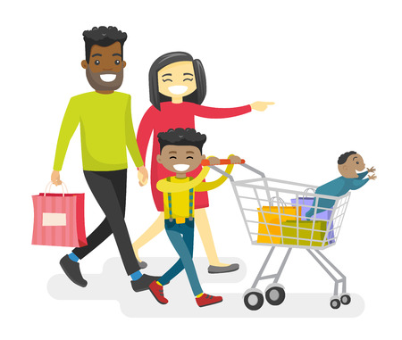 Happy multiracial family with biracial kids shopping. Young smiling Asian mother and African-american father with happy biracial kids walking with shopping cart. Vector isolated cartoon illustration.