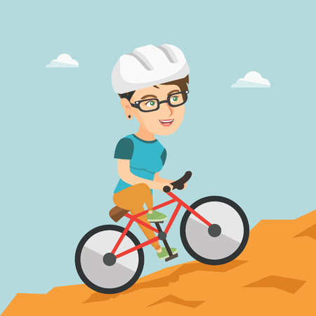 Happy caucasian traveler woman riding a mountain bike.