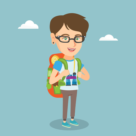 Young caucasian traveler woman standing with a backpack and binoculars. Ilustracja