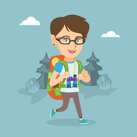 Young caucasian backpacker with a backpack and binoculars walking outdoor. Ilustracja