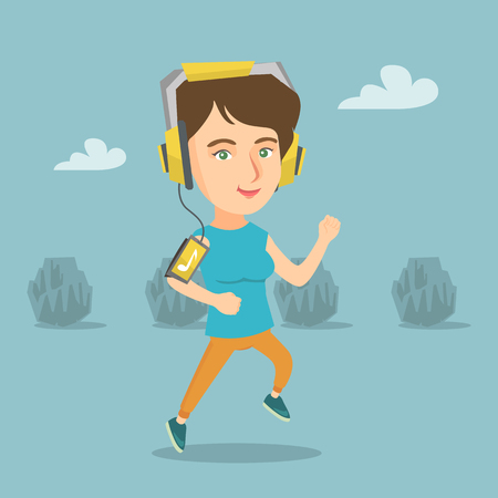 Caucasian woman running with earphones and armband for smartphone. Illustration