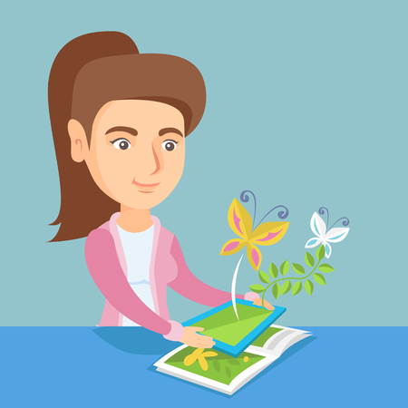 Young caucasian woman holding a tablet computer above the book and looking at butterflies flying out from the device. Concept of augmented reality. Vector cartoon illustration. Square layout.