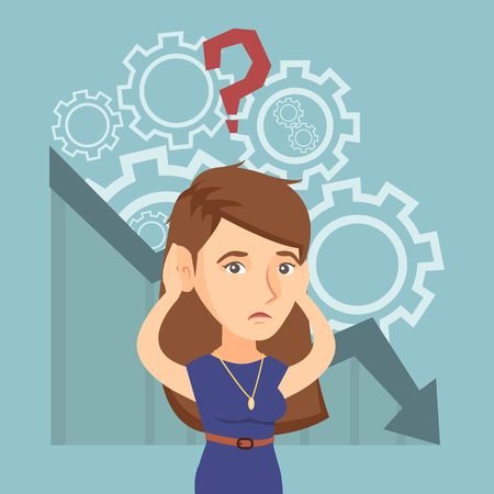 Young caucasian bankrupt woman clutching head on the background of chart going down. Bankrupt woman with question above head. Concept of business bankruptcy. Vector cartoon illustration. Square layout