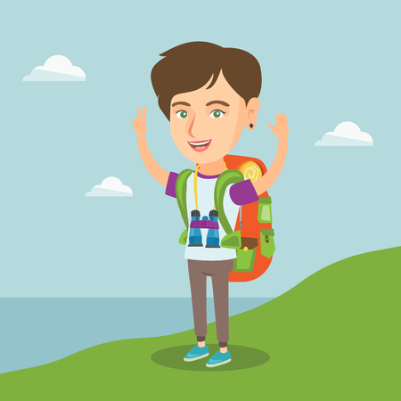 Young caucasian cheerful tourist with a backpack standing on the cliff with raised hands and enjoying the scenery. Happy tourist hiking in the mountains. Vector cartoon illustration. Square layout.