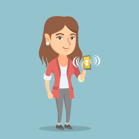 answering: Young caucasian smiling woman holding a ringing mobile phone. Full length of woman showing a ringing phone in hand. Happy woman answering a phone call. Vector cartoon illustration. Square layout.