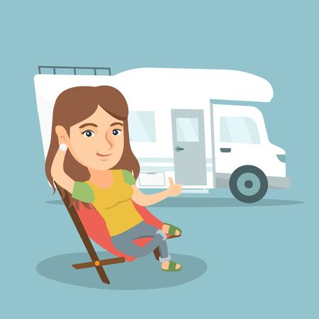 Young caucasian woman sitting in a folding chair and giving thumb up on the background of camper van. Smiling happy woman enjoying vacation in a camper van. Vector cartoon illustration. Square layout.