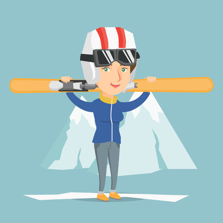 Souriant caucasien transportant des skis sur ses épaules. Sportive holdong skis sur le fond de la montagne enneigée. Jeune sportive ski. Illustration de dessin animé de vecteur. Disposition carrée. Banque d'images - 87703252
