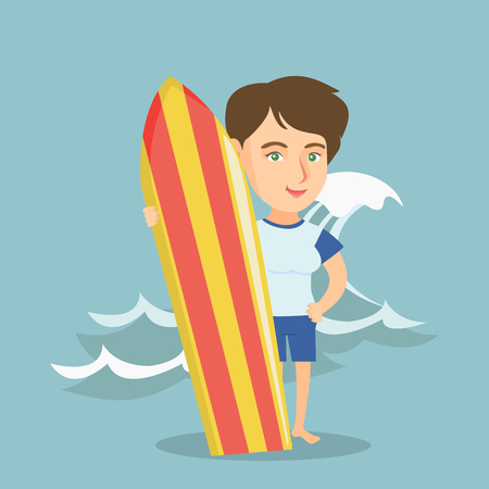 Caucasian woman standing with a surf board on the beach. Full length of young surfer holding a surf board on the background of sea wave. Vector cartoon illustration. Square layout.