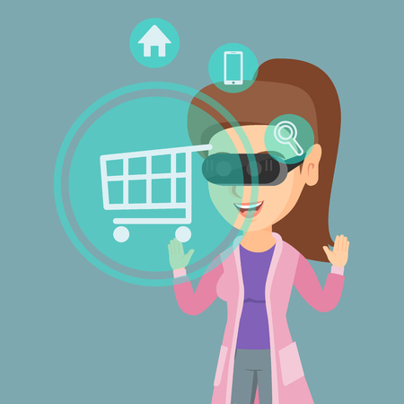 Young caucasian woman wearing virtual reality headset and looking at icon of shopping trolley. Concept of virtual reality, online shopping, e-commerce. Vector cartoon illustration. Square layout.