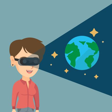 cyber woman: Young caucasian gamer wearing futuristic virtual reality headset and looking at open space with earth model and stars. Happy woman playing virtual game. Vector cartoon illustration. Square layout. Illustration