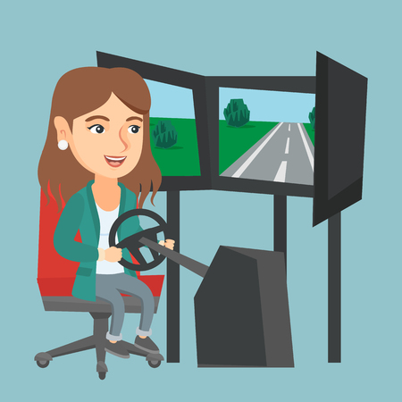 Excited caucasian woman playing video game with a gaming steering wheel. Woman driving a car simulator. Young cheerful woman playing car racing video game. Vector cartoon illustration. Square layout.