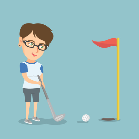Young caucasian golfer directing a ball into a golf hole with a red flag. Professional golfer playing golf. Sport and leisure concept. Vector cartoon illustration. Square layout.