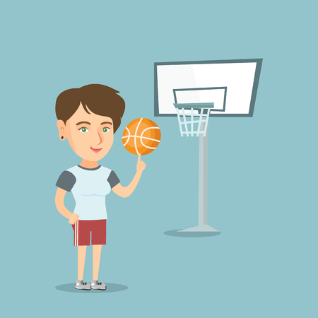 Young caucasian basketball player spinning a ball on her finger. Professional basketball player standing on the basketball court with a ball. Vector cartoon illustration. Square layout. Vettoriali