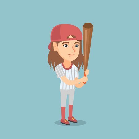 Full length of Сaucasian smiling woman baseball player in uniform holding a bat. Young cheerful professional sportswoman playing baseball. Vector cartoon illustration. Square layout. Ilustrace