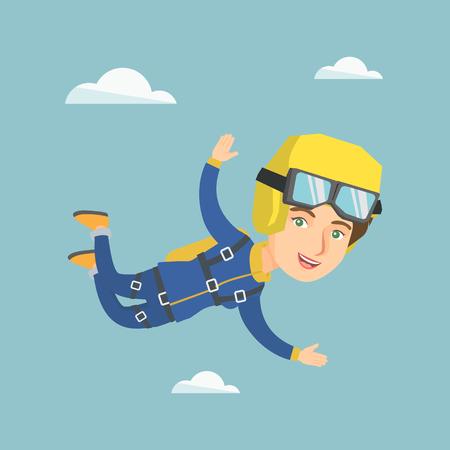Caucasian parachutist jumping with a parachute. Illustration