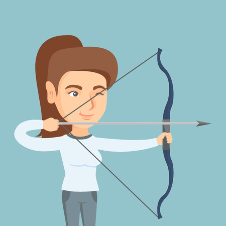 Young Caucasian sportswoman practicing in archery.