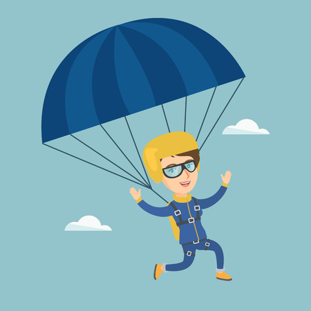 Caucasian skydiver flying with a parachute. Stock Illustratie