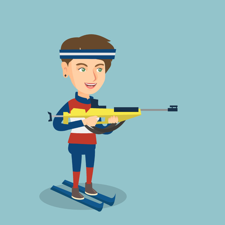 Young Caucasian biathlon runner holding a weapon and aiming at the target.