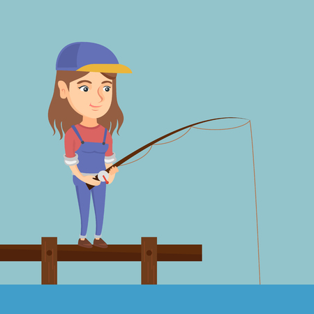 Young caucasian woman relaxing during fishing on jetty. Cheerful fisherwoman fishing on lake. Angler standing on the jetty with a fishing-rod in hands. Vector cartoon illustration. Square layout. Illustration