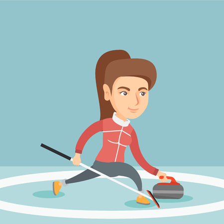 Caucasian sportswoman playing curling on a skating rink. Curling player sliding on the ice and delivering a stone. Young curling player with stone and broom. Vector cartoon illustration. Square layout