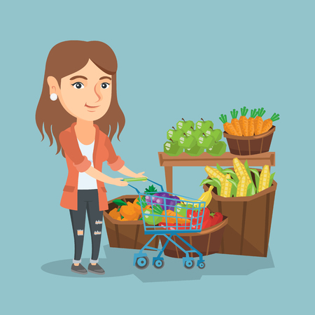 Young caucasian woman pushing a supermarket cart with some vegetables and fruit. Woman buying vegetables and fruit. Woman shopping in the store with a cart. Vector cartoon illustration. Square layout.
