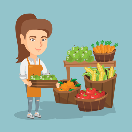 Caucasian greengrocer holding box with apples. Greengrocer standing in front of grocery stall with vegetables and fruit. Woman selling vegetables and fruit. Vector cartoon illustration. Square layout. Illustration