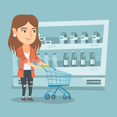 Young caucasian woman pushing an empty supermarket trolley. Woman shopping in the supermarket with a trolley. Woman walking with trolley in the supermarket. Vector cartoon illustration. Square layout. Illustration